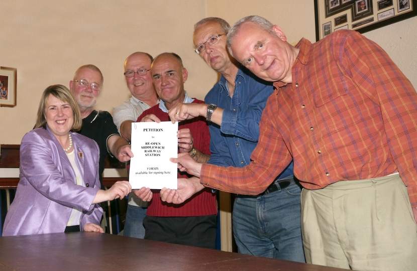 Fiona Bruce MP supports the Middlewich Rail Link campaign