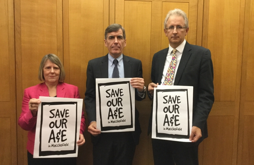 Fiona Bruce MP campaigning with other MPs to save Macclesfield A&E