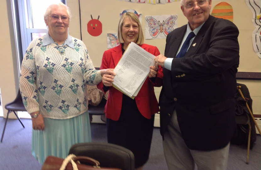 Fiona Bruce with a petition calling for no parking charges at Congleton War Memorial Hospital