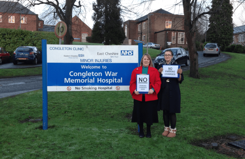 Fiona Bruce MP campaigning to end car parking charges at Congleton War Memorial Hospital