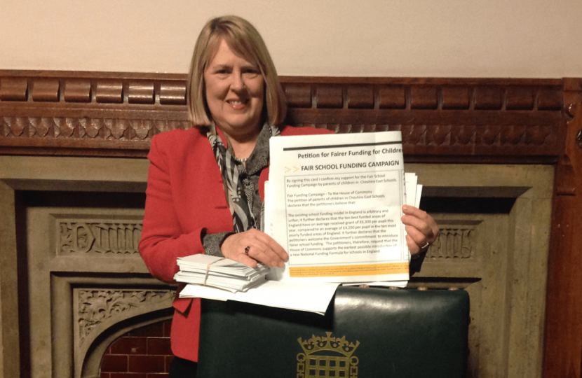 Fiona with a petition on Fairer Funding for local schools, in 2015
