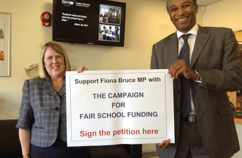Fiona campaigning for Fairer Funding for local schools, with David Hermitt, Headteacher at Congleton High School