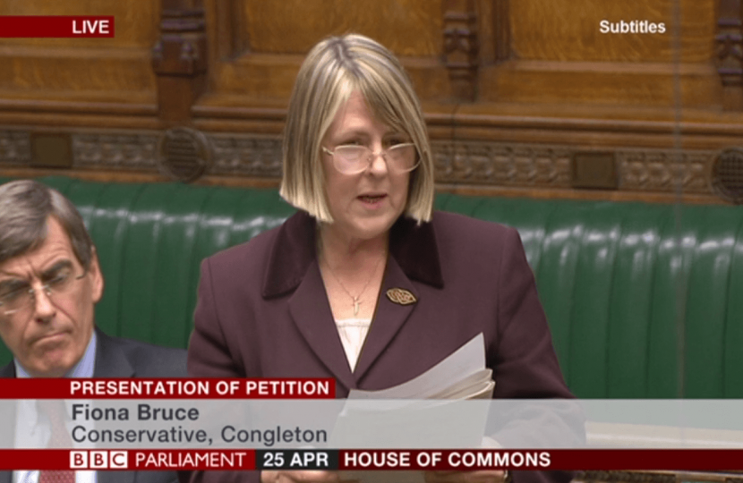 Fiona Bruce MP speaking on behalf of a petition for better funding for local schools in Congleton