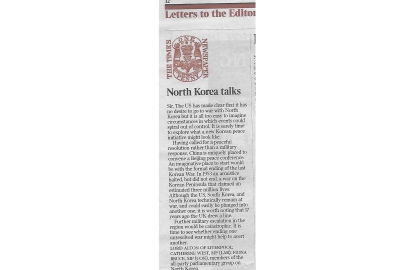 Fiona's Letter in the Times