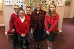 Fiona with children from Middlewich Primary School
